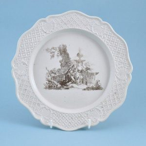 English Saltglaze Plate with Printed Scene