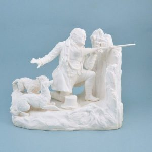 Minton biscuit porcelain figure 'The Keeper Going Around his Traps'