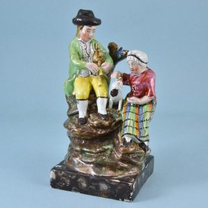 Antique Staffordshire Pottery 'Songsters' figure