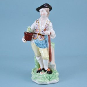 Antique Chelsea Derby figure of a Gardener (+1)
