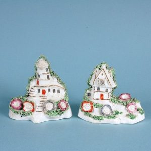 Unusual Pair of Staffordshire Windmill & Miller's Cottage
