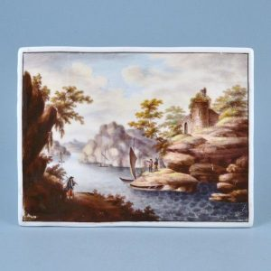 English Porcelain Plaque - Hand Painted River Scene