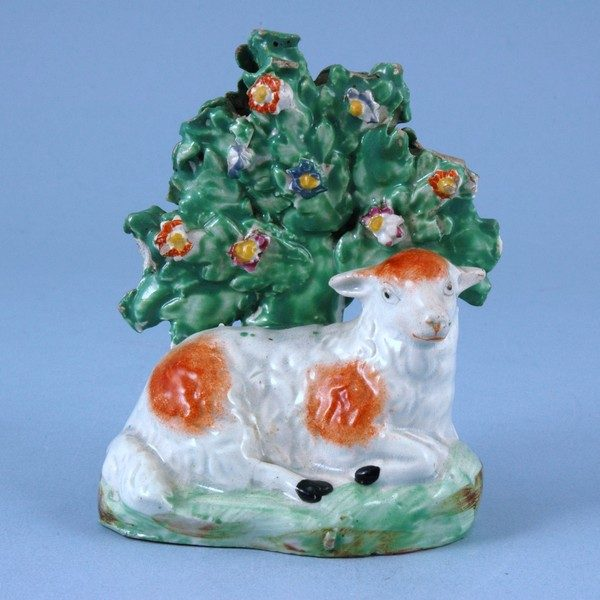 Staffordshire Pottery Sheep with Bocage