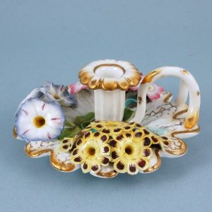 English porcelain flower encrusted chamberstick.