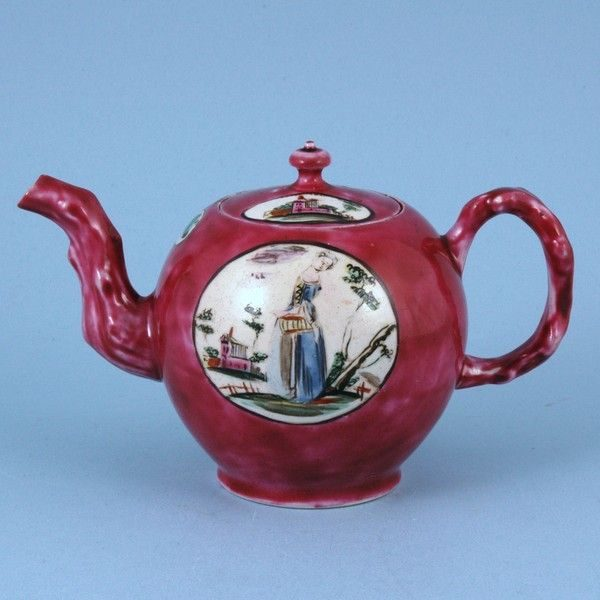 English Saltglaze Small teapot, Claret Ground