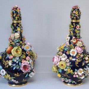 """Pair of Bloor Derby Flower Encrusted 18""""/45cm Bottles & Stoppers."""