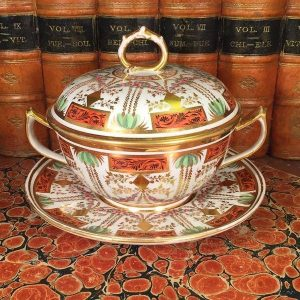 English Porcelain Two-Handled Cup, Cover & Stand