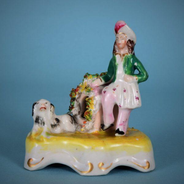 Miniature Staffordshire Figure, Man, Dog & Kennel.