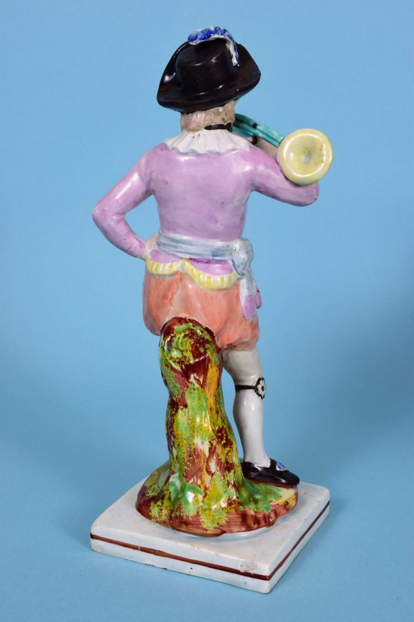 Staffordshire Pottery Figure of a French Horn Player