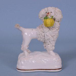 Staffordshire Porcelain Poodle Carrying a Basket