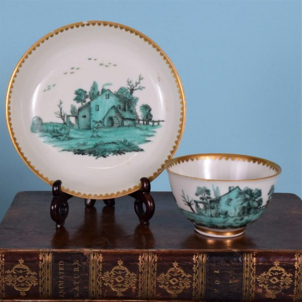 London Decorated Chinese Tea Bowl & Saucer