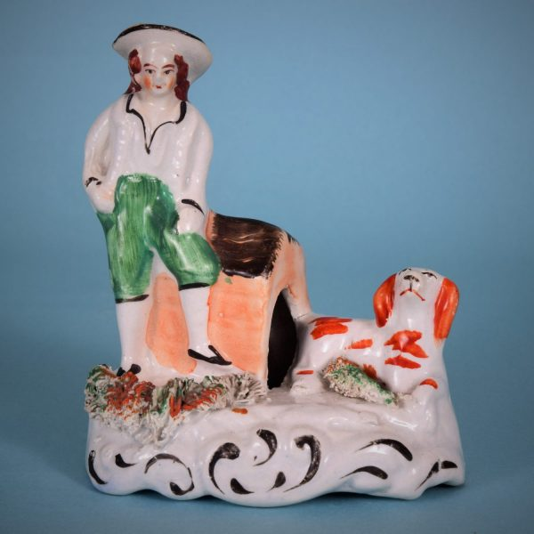 Staffordshire Miniature Figure with Dog and kennel