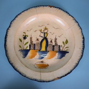 Pearlware Feather Edge Plate With Figure (AF)