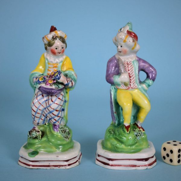 Pair Miniature Staffordshire Pottery Figures.