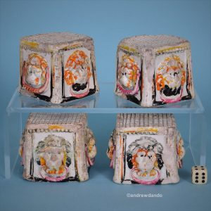 Staffordshire Pottery Lions mask Furniture Rests.