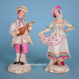 Pair of Staffordshire Figures, Musician & Dancer.