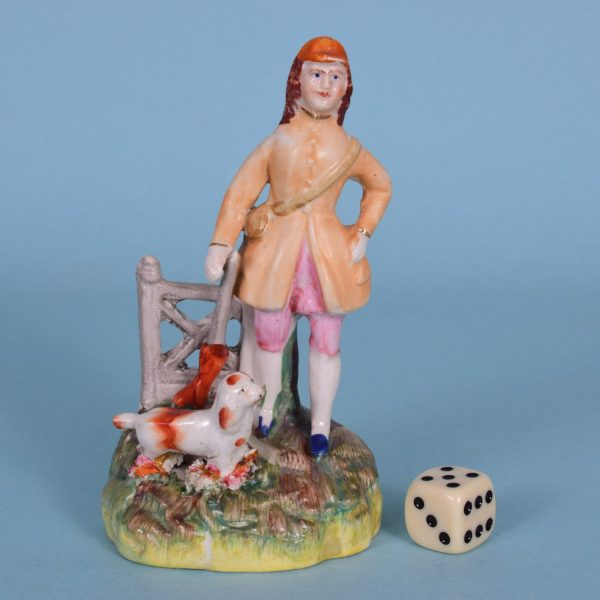 Miniature Staffordshire Figure, Man With Dog.