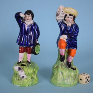 Staffordshire Figures, Boys With rabbits.