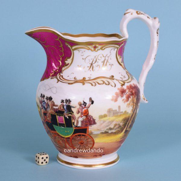 English Porcelain Coaching Jug.