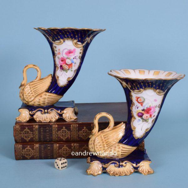 Pair of English Porcelain Cornucopia 9r)