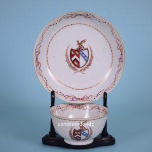 Chinese Armorial Tea Bowl & Saucer (14485)