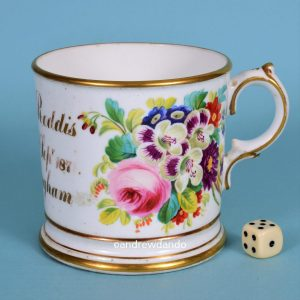 English Porcelain Christening Mug, F. Roddis.