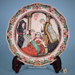 Dutch Decorated Creamware Plate, Communion.