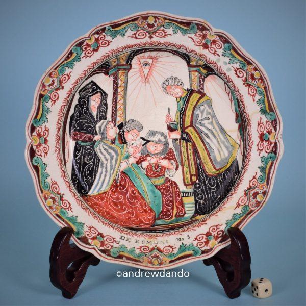 Dutch Decorated Creamware Plate, Communion.