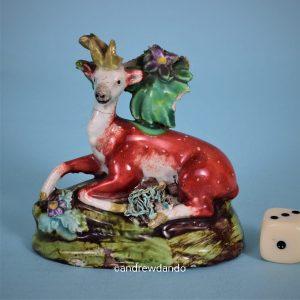 Staffordshire Pottery Miniature Deer.