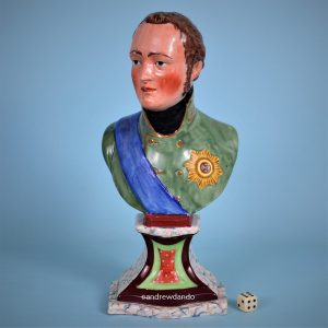 Staffordshire Pottery Bust of Tzar Alexander 1.