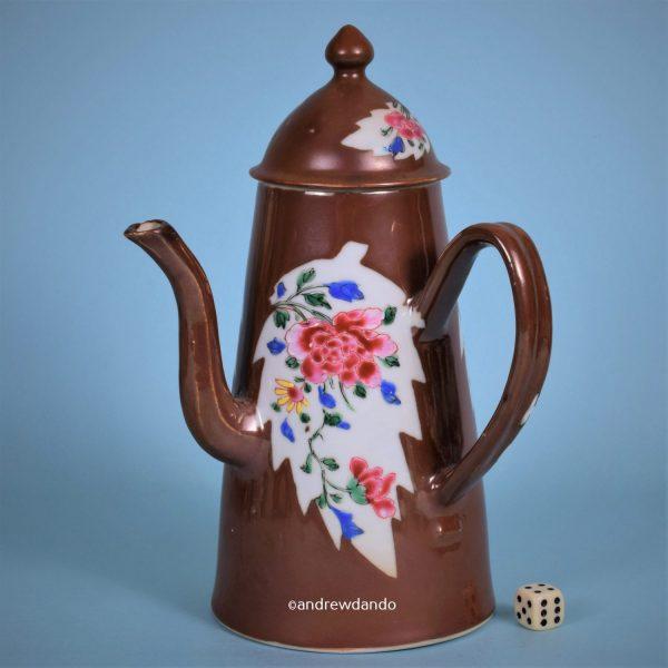 Chinese Export Porcelain Batavian & Famille Rose Chocolate pot