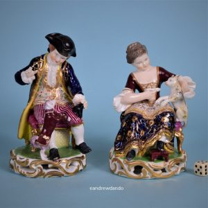 Pair of Derby Seated Figures with Cat & Dog