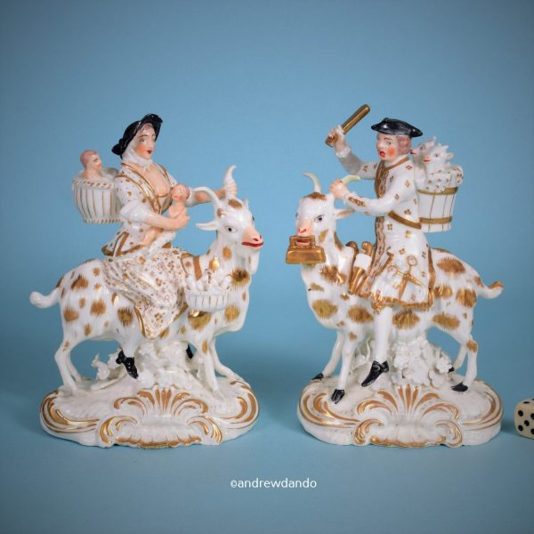 Derby Porcelain Welch Tailor & Wife Riding Goats (w+g)