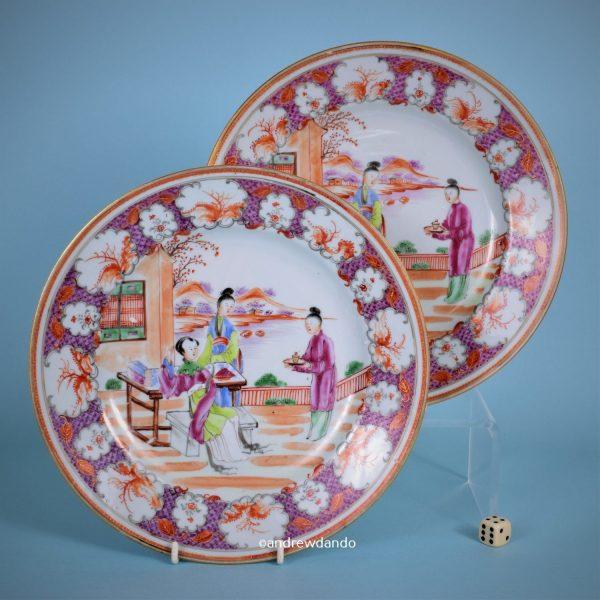 Pair of Qianlong Period 'Mandarin' Plates