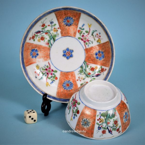Worcester 'Scarlet Japan' Tea Bowl & Saucer.