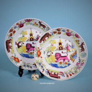 Pair of English Porcelain Saucers.