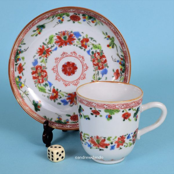 Chinese export porcelain coffee cup & saucer