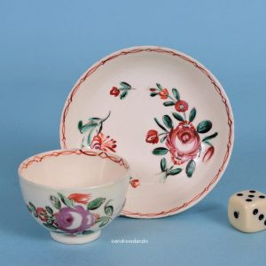 Creamware Miniature tea Bowl & Saucer.