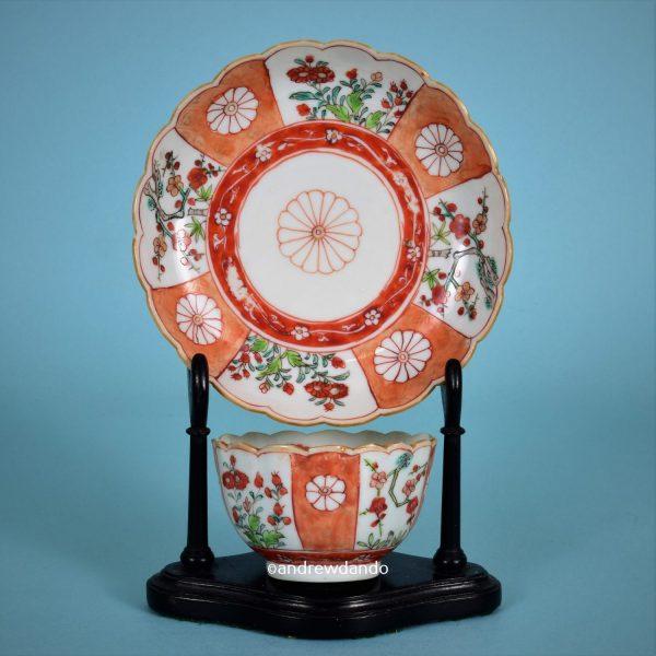 Chinese export 'Scarlet Japan' Tea Bowl & Saucer.