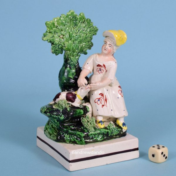 Staffordshire Figure - Girl With Dog