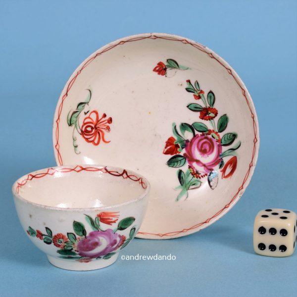 Miniature Creamware Tea Bowl & Saucer.
