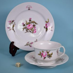 Worcester Porcelain 'Wedding Breakfast Trio' with Scott crest.