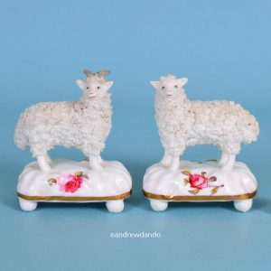 Pair of Staffordshire Sheep With Roses on Bases.