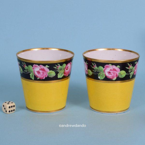 Pair of English Porcelain Yellow Ground Beakers.