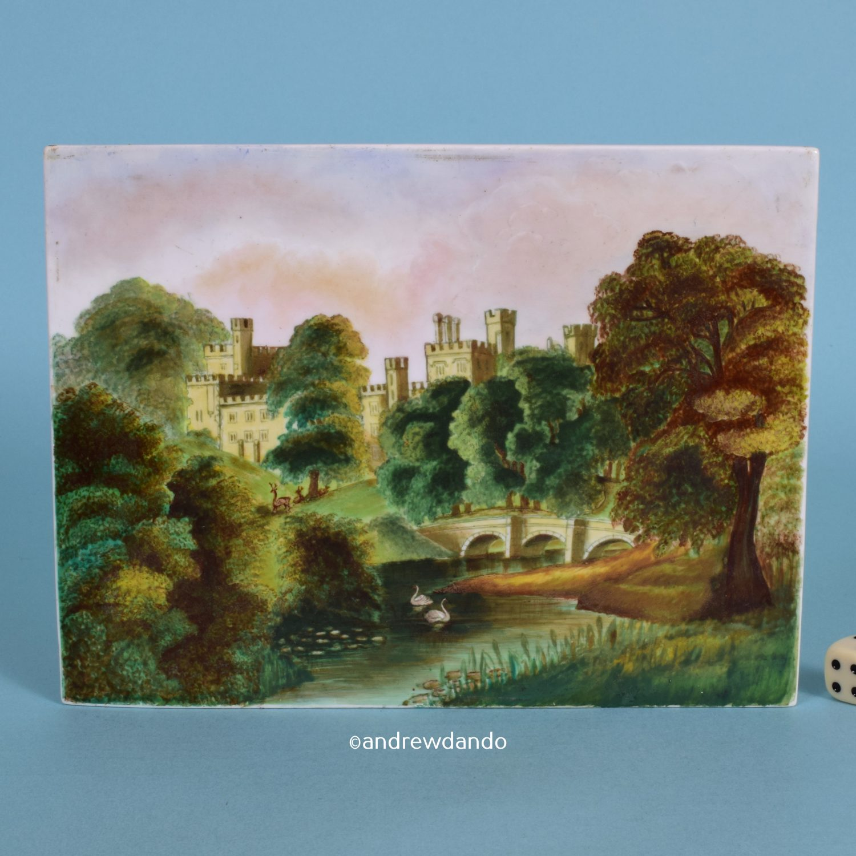 English Porcelain Plaque, Alnwick Castle ?