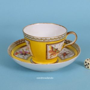 English Porcelain Yellow Ground Cup & Saucer.