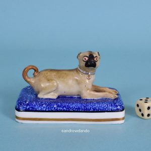 Minton Pug Dog on Blue base