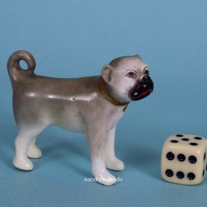 English Porcelain Miniature Pug Dog.