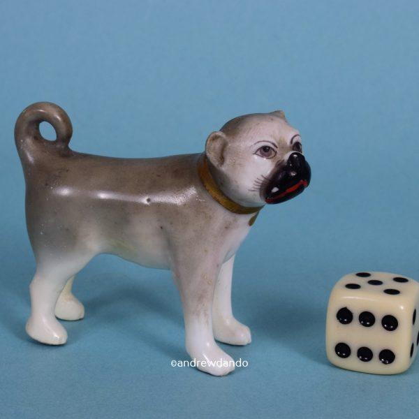 English Porcelain Miniature Pug Dog.