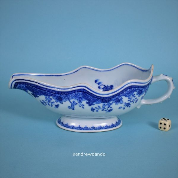 Chinese Export Porcelain Sauceboat.